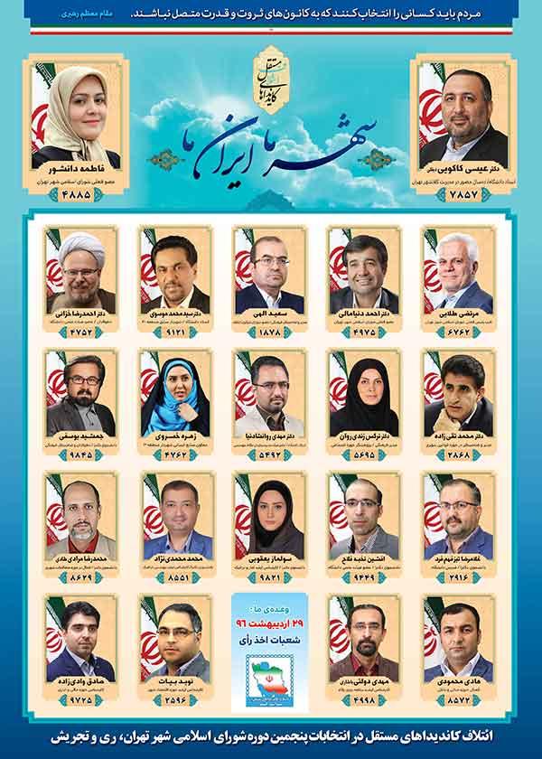 پوستر فهرست 21 تفره تهران